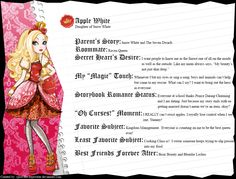 Ever After High - Apple White's Full Bio v2 by cjlou-the-bejeweler.deviantart.com on @DeviantArt