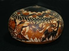 """American Indian Art Gourd   Peruvian Carved and Decorated Gourd - 3.5 """" high…"""