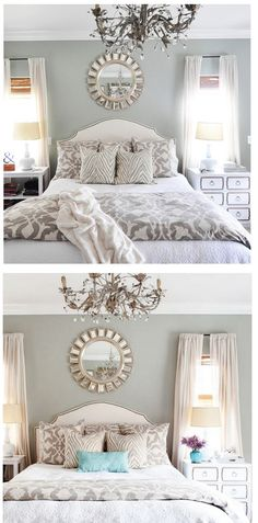 LOVE the chandelier, pop of color and mismatched (yet coordinated) side tables.