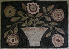 Hand Made Primitive Hooked Rug Vermont Flower Basket Folk Art