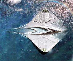 Floating city concept shaped like a manta  , - ,   The futuristic...