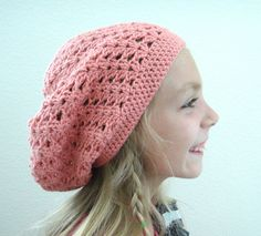 Girls Beret Slouch Hat Salmon Pink by PreciousBowtique on Etsy Knit Crochet, Crochet Hats, Winter Trends, Handmade Gifts, Etsy Handmade, Knitted Hats, Women Accessories, My Etsy Shop, Slouchy Hat