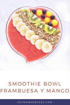 Receta de rico Smoothie Bowl de Frambuesa y Mango =>Haz PIN para guardar. Batidos y licuados naturales y saludables