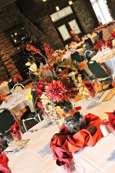 Fall Centerpiece in Allison Peabody Hall at the Abe Martin Lodge located in the Brown County State Park