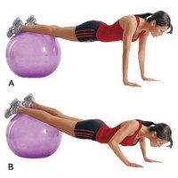 Stability Ball Decline Pushup2 | Women's Health Magazine  Quick change: Choose a large ball to add more of a decline, or move your hands closer together.  SETS - 3 REPS - 10-12 REST 60 sec