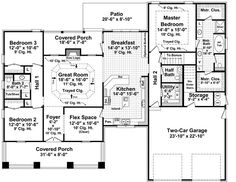 First Floor Plan of Bungalow   Craftsman   House Plan 59149 I want the garge and master area put on the other side exposing dinning and kitchen