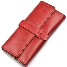 KLOUD ® Red PU leather women wallet/purse/credit card holder case with a strap closure plus KLOUD cleaning cloth: Price: $11.89