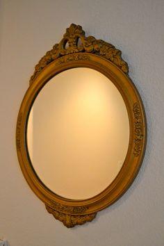 Vintage Round Mirror Gold Wood Gilt Frame Art by MyVintagePastLife, $78.00