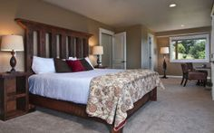 The High Desert Suite has a king-size bed, private, attached bathroom with 2-person jetted tub, sitting area, fireplace and a private deck with valley views.