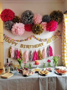 Gorgeous birthday party backdrop! I like it but In purple and pink or purple and cyan!