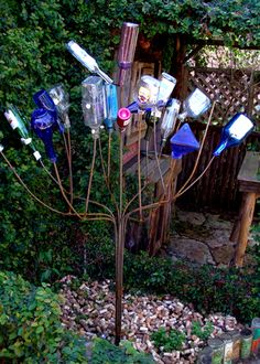 Wine cork mulch under bottle tree