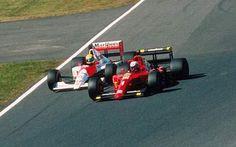 Ayrton Senna and Alain Prost collide in the Japanese Grand Prix at Suzuka.