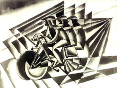 Futurism Project for 7th grade.  Movement & Rhythm....Fortunato Depero, Ciclisti, 1923