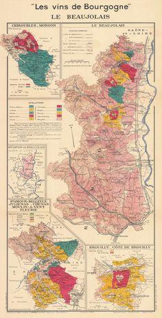 Vineyards map of Bourgogne region from 1944. Sonoma Winery Map, Sonoma Wineries, Temecula Wineries, Le Beaujolais, Pigment Ink, Vineyard, Vintage World Maps, Canvas Prints, Canon