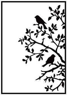 Nellie Snellen Nellie& Choice Embossing Folder - Birds On Branch. Hobby Solution Embossing Folders - Birds on Branch. Add texture and dimension to your paper c Stencil Patterns, Stencil Designs, Wall Art Designs, 3d Zeichenstift, Newspaper Painting, Bird Silhouette Art, Gravure Laser, Bird Stencil, Diy Wall Painting