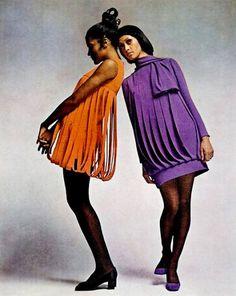 Dresses by Pierre Cardin, 1969.Mod . 1960s fashion