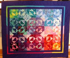 Stars That Sparkle Quilt Rainbow Colored and Hand by nhquiltarts, $325.00