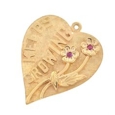 """Vintage Ruby """"Our Love Keeps Growing"""" Heart Charm/Pendant Vintage Charm Bracelet, Vintage Jewelry, Charm Bracelets, Ruby Stone, Gold Letters, Heart Locket, Painting Patterns, Our Love, Heart Charm"""