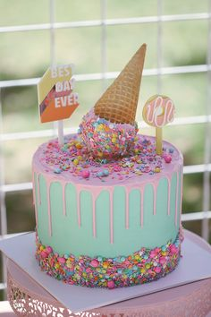 Ice Cream Cone Drip Cake from a Pastel Sweet Birthday Party on Kara's Party . - Ice Cream Cone Drip Cake from a Pastel Sweet Birthday Party on Kara's Party . Ice Cream Cone Cake, Ice Cream Birthday Cake, Ice Cream Theme, Ice Cream Party, Birthday Cake Girls, 2nd Birthday Parties, Cream Cake, Cake Cone, Frozen Birthday