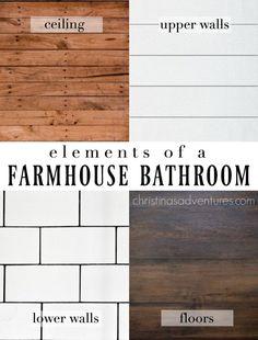 Classic farmhouse bathroom design elements: wood ceiling, shiplap upper walls, subway tile lower walls, and wood look flooring