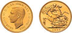 Europa - Großbritannien - Georg VI., 1936-1952. Georg VI, 1937-1952, 5 £ 1937, Kopf nach links / St. Georg zu Pferd, 39,92 g.f. Fast Stempelglanz.