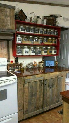Country Kitchen   Rustic Cabinets, And The Shelf With The Clear  Jars/canisters. Under The Low Kitchen Window