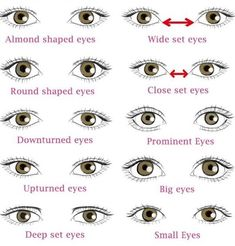 Different Types of Eye Shapes: Which One you have? Makeup artist has to first know what different types of eye shapes their clients has before they start to do the eye makeup. Types Of Eye Shapes, Different Types Of Eyes, Face Shapes, Eye Types, Wide Set Eyes, Deep Set Eyes, Salon Interior Design, Salon Design, Eye Shape Makeup