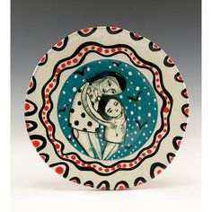 Plate  Painting by Jenny Mendes on a round ceramic tapas