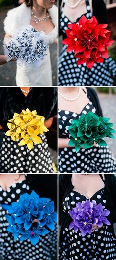 DIY origami wedding bouquets. Photos by Casey Fatchett - www.fatchett.com
