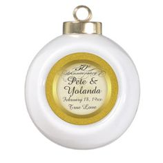 50th Wedding Anniversary Glitter Ornament