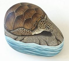 a turtle on a rock surrounded with water Turtle Painting, Pebble Painting, Pebble Art, Stone Painting, Rock Painting, Diy Painting, Turtle Painted Rocks, Hand Painted Rocks, Painted Stones