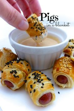 Look at these cute little cocktail sausages wrapped in bits of puff pastry... these pigs in a blanket are a highly popular appetizer!