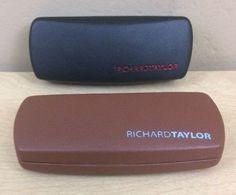 2 Lot RICHARD TAYLOR Eye Glass Sunglasses Case Hard Clam Shell  Black Brown Nice #RichardTaylor