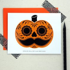 Halloween Card - Sugar Skull Pumpkin Greeting Card - Feliz Dia De Las Brujas
