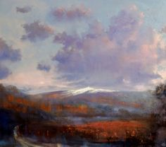 First Snow On Mont Ventoux, John O'Grady - The vineyards in the valley show off their russet colours in this atmospheric landscape painting
