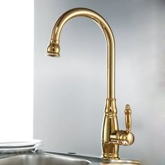 KES Traditional Kitchen Faucet Single Handle without Sprayer Bar Prep Sink Faucet Single Hole Replacement Tap Brass Titanium Gold, * Learn more by visiting the image link. Gold Kitchen Hardware, Gold Kitchen Faucet, Cheap Kitchen Faucets, Rose Gold Kitchen, Kitchen Faucets Pull Down, Gold Faucet, Bar Faucets, Kitchen Fixtures, Kitchen Handles