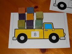 Truck Load Math Mats okay. just though I would love to have a Load Santa's Sleigh Math Mats! Numbers Preschool, Math Classroom, Kindergarten Math, Fun Math, Classroom Activities, Teaching Math, Preschool Activities, Maths Resources, Transportation Activities
