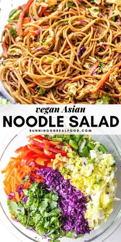 Healthy Asian Noodle Salad Try this easy vegan cold Asian noodle salad for a simple but delicious plant-based meal. Customize with your favorite veggie add-ins or try it with tofu or edamame. Ready in under 30 minutes with simple ingredients. Veggie Recipes, Asian Recipes, Vegetarian Recipes, Cooking Recipes, Healthy Recipes, Vegetarian Kids, Kid Recipes, Veggie Meals, Easy Cooking