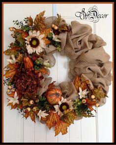 Tomber la Couronne Couronne de toile de jute automne par JWDecor