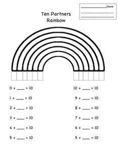 Students use the rainbow arches to make 10 pairs. The arches help students see the connections between the pairs....    Friends of 10