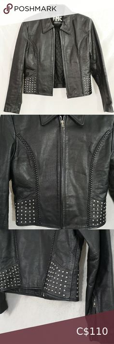 """Vintage Studded Leather Biker Jacket Size L Pristine condition women's vintage leather motorcycle jacket, lined, with silver metal studs and braided detail. Size L Flat Measurements: 17"""" across back of shoulders / 22"""" long top to bottom / 18"""" across waist / 17"""" across chest / 17"""" sleeves from underarm to wrist Jackets & Coats Vintage Leather Motorcycle Jacket, Grey Leather Jacket, Line Jackets, Jackets For Women, Down Winter Coats, Lace Blazer, Grey Zip Ups, Studded Leather, Long Tops"""