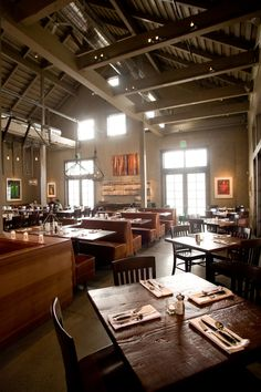 Farmstead restaurant by EDG Interior Architecture dining space with from corner