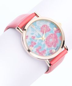 Look at this Coral Floral Dial Watch on #zulily today!