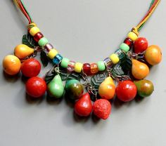 Vintage Celluloid Fruit Necklace by jujubee1 on Etsy, $22.00