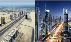 On the left is Dubai street in 90 and on the right is some 30 years after.