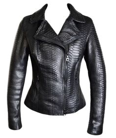 Dark 8 Fabric Finished Python Skin Jacket