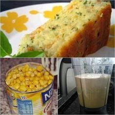 Ingredientes 1 xícara (chá) de leite 1 lata de milho verde escorrido 1 embalagem creme cebola 1 xícara (chá) de óleo 3 ovos 2 xícaras (chá) de farinha trigo 1 colher (sopa) fermento pó 200 g de queijo muçarela ou prato ralado em ralo grosso 100 g...