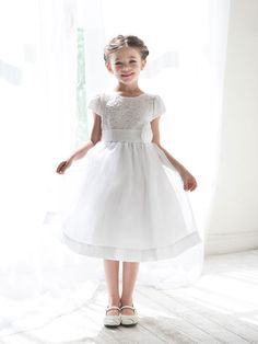 Lace flower girl dress with sleeves