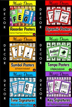 Music Bulletin Boards: Music Posters: Flashcards Back to School Music Deco Music Theory For Beginners, Basic Music Theory, Music Lesson Plans, Music Lessons, Elementary Music, Elementary Library, Elementary Education, Music Bulletin Boards, Music Theory Worksheets