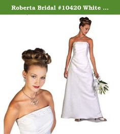 "Roberta Bridal #10420 White Size 10 Informal Bridal Prom Graduation Debutante. This simple yet elegant informal gown is fantastic for a summer garden wedding, beach wedding, yacht wedding or even a Vegas getaway wedding. This gown has the following measurements Bust=37 1/2""; Waist=29""; Hips=39 1/2""; Length=59"". Although this gown is NEW, it may have been tried on in our showroom. Due to the high volume of fraudulent refund claims from third party shippers, we WILL NOT ship any merchandise…"